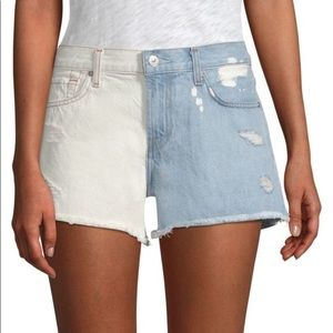 7 for All Mankind Ripped Two Toned Cut Off Shorts